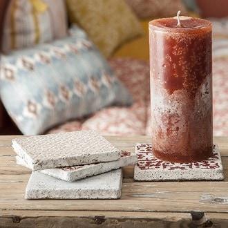 Support bougies carreaux de ciment marron rose sombre rouge 3 assorti - 10x10cm