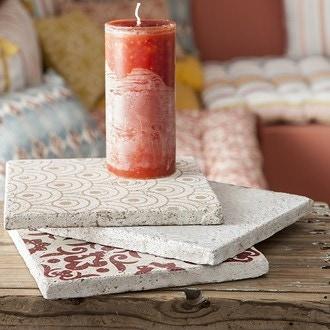 Support bougies carreaux de ciment marron rose sombre rouge 3 assorti 20x20cm