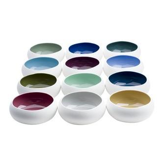 Coupelle en porcelaine, extérieur mat intérieur brillant, coloris assortis 16cm