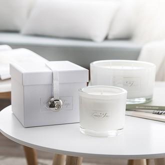 Les lumiÈres du temps - bougie parfumé luxe ronde blanche soie végétale d150 ht80