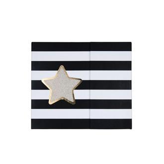 Kit semainier rayé noir étoile argent avec notes adhésives