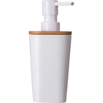 Distibuteur de savon en plastique et bambou