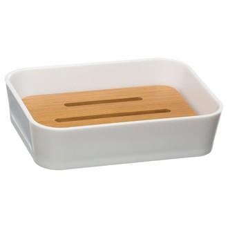 Porte savon en plastique et bambou
