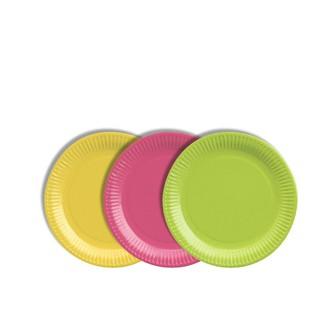 40 assiettes rondes vert, fuchsia, jaune 19cm