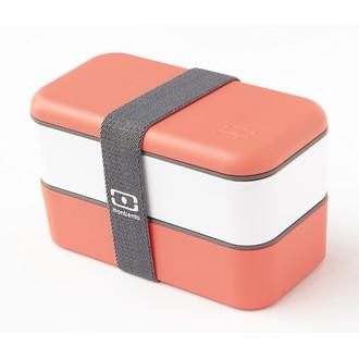 MON BENTO Original - Boîte 2 compartiments corail et blanc 1L
