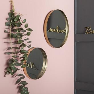 Miroir rond bord recourbé métal doré 35cm