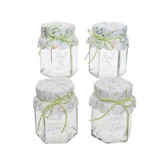 Set de 4 bocaux en verre petit nœud vert