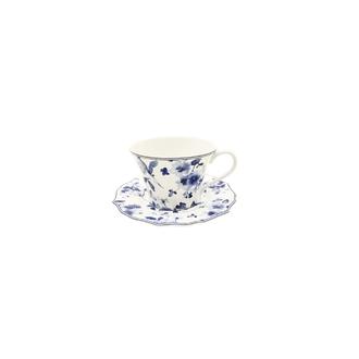 Paire tasse à thé avec soucoupe fleurs bleues 25cl