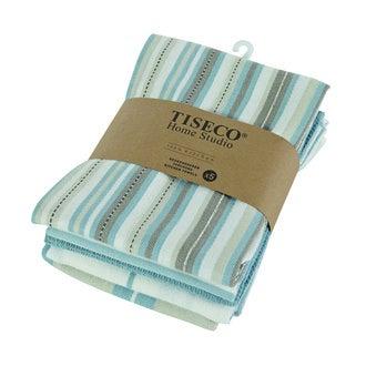 Lot de 5 torchons assortis bleus 100% coton50x70cm
