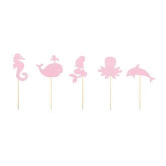 Set de 9 décors à piquer Under the sea pailletés argent et rose