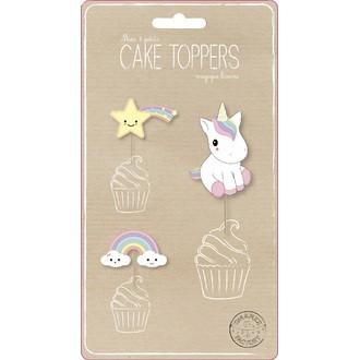 Set de 3 décors à cupcakes Licorne