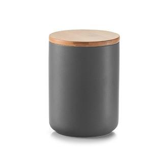 Bocal en céramique avec couvercle en bambou anthracite 650 ml