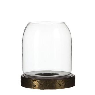 Photophore en verre base en bois marron foncé h22xd20cm