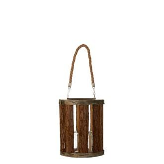Lanterne en bois marron h25xd21cm