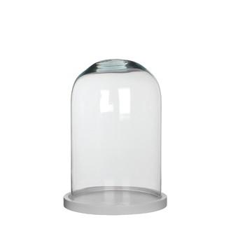 Cloche décorative en verre transparent socle bois blanc Hella ø21,5xh30cm