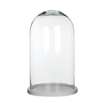 Cloche décorative en verre transparent socle bois blanc Hella ø23,5xh38cm