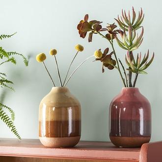 Vase céramique dégradé de beiges sable ø12xh16,5cm