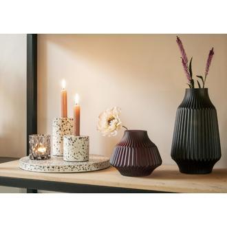 Vase en verre opaque violet mat Stripes d16xh13cm