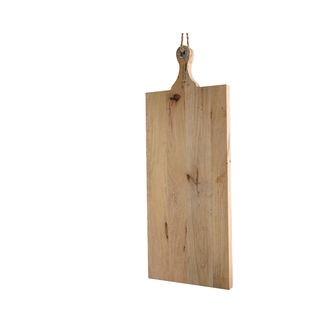Planche à découper en bois manguier, poignée avec oeuillet et corde, 77x29cm