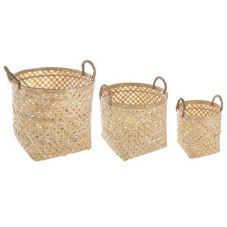 Set de 3 paniers en bambou naturel avec anse