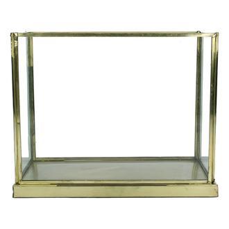 Terrarium en verre et métal doré vieilli 21x11xh17cm