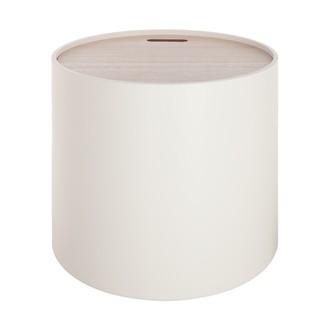 Table coffre plateau bois Yuri blanche d37.5xh35cm