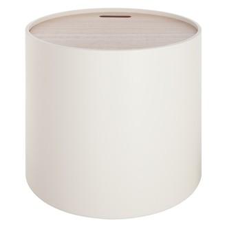 Table coffre plateau bois Yuri blanche d45xh40cm