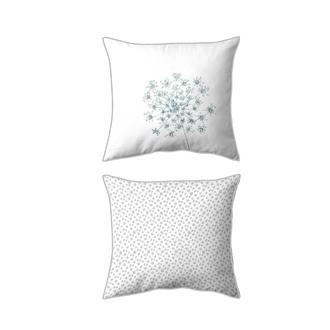 MAOM - Taie d'oreiller carrée en percale imprimée Ombelle Nature 65x65cm