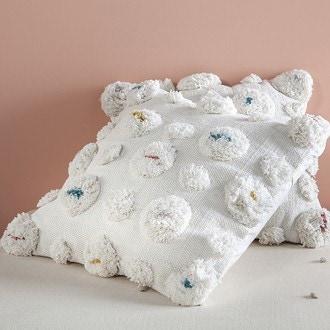 Zodio- coussin tissé pompons blanc cœur multicolor delta 45x45cm