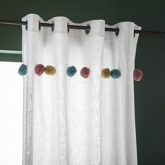 Zodio- rideau en coton avec gros pompons multicolor blanc fakim 140x240cm