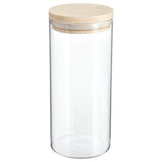 Bocal de rangement en verre transparent et en bois de 1,3L - 9,7x22cm