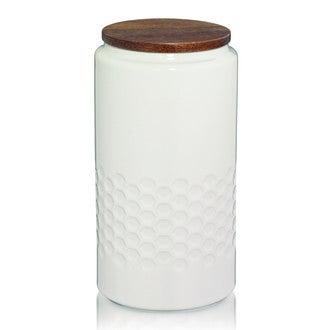 Bocal Mellis blanc crème en céramique avec couvercle en bois 1,3L