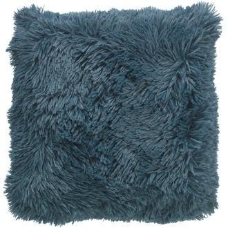 Coussin poils longs bleu prusse Fluffy 45x45cm