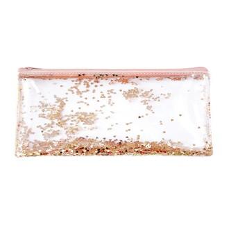 Trousse transparente en plastique à pailettes cuivre