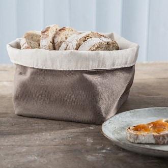 Petit panier à pain coton marron 11x11cm