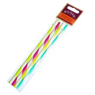 Set 4 pailles couleurs  plastique 7 X 1 X 25
