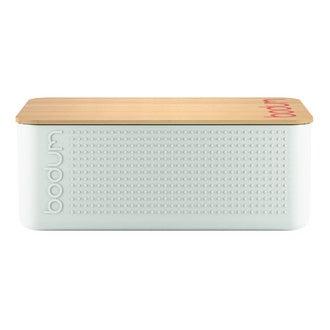 BODUM - Boite à pain petit modèle, blanc couvercle bambou. 19x29x11 cm, Bistro