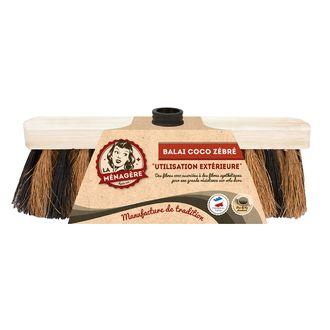 Tête de balai en bois coco zèbre tradition