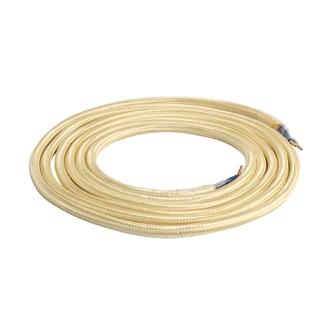 Câble textile à double isolation en coton doré 2m