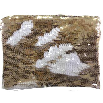 Pochette en sequin reversible doré/blanc