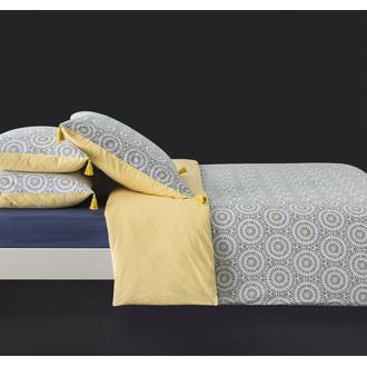 MAOM - Taie d'oreiller carrée en percale à pompons encre Tribana 65x65cm