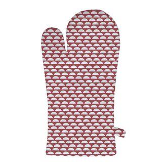 ZODIO - Gant de cuisine imprimé pois 100% coton cranberry