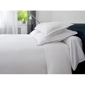 MAOM - Drap plat à rayures en satin blanc 240x310cm