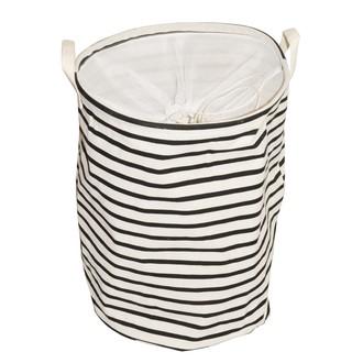 Panier à linge stripes noir et écru