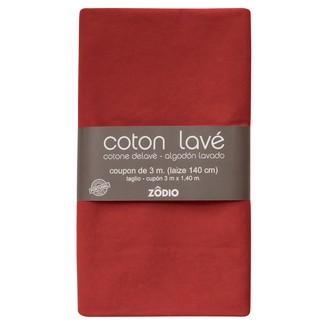 Coton lavé brique coupon 300x140cm