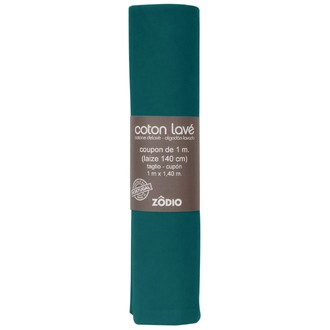 Coton lavé vert sapin coupon 100x140cm