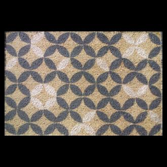 Tapis d'entrée rectangulaire coco Rosaces blanches 40x60cm
