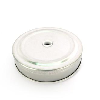 Couvercle métallique avec insert pour paille