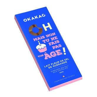 MONBANA - Tablette de chocolat au lait fleur de sel de Guérande Anniversaire 100g