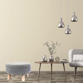 Pouf assise en crochet gris clair et pieds bois brut d48xh30cm